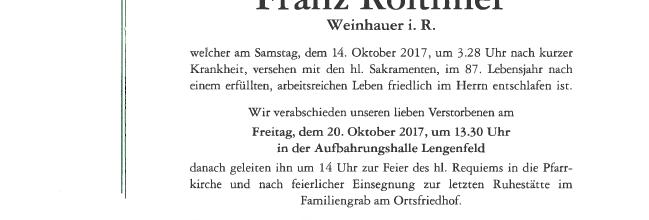 Begräbnis ELM Franz Roithner sen.
